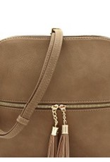 Taupe Tassel Accent Cross Body