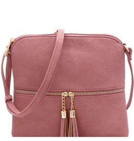 Mauve Tassel Accent Cross Body