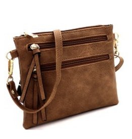 Multi Pocket Brown Crossbody