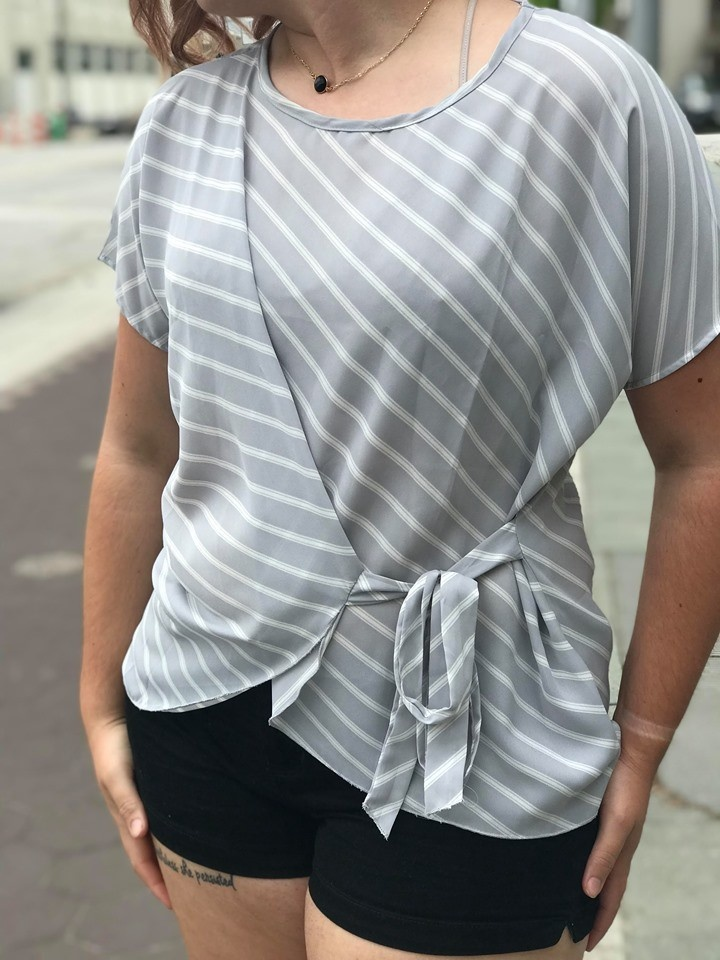 Grey Striped Tie Side Blouse