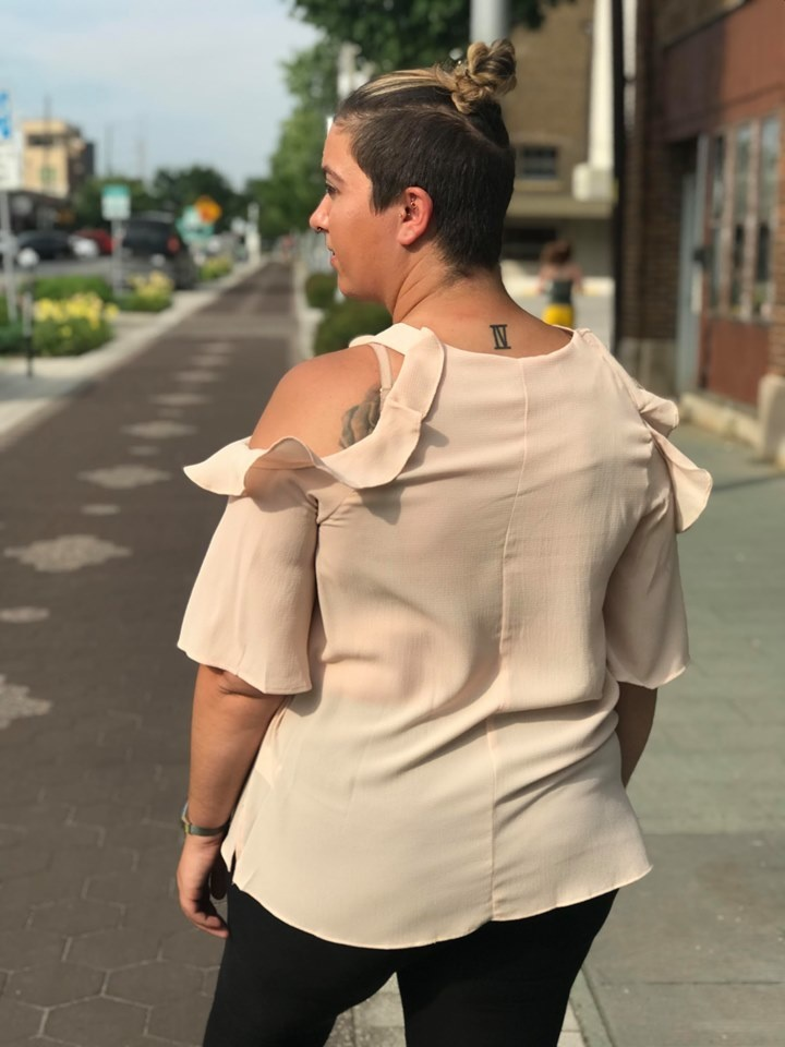 Cold Shoulder Blouse with Ruffle Details