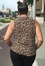 Leopard Print Twist Collar Tank