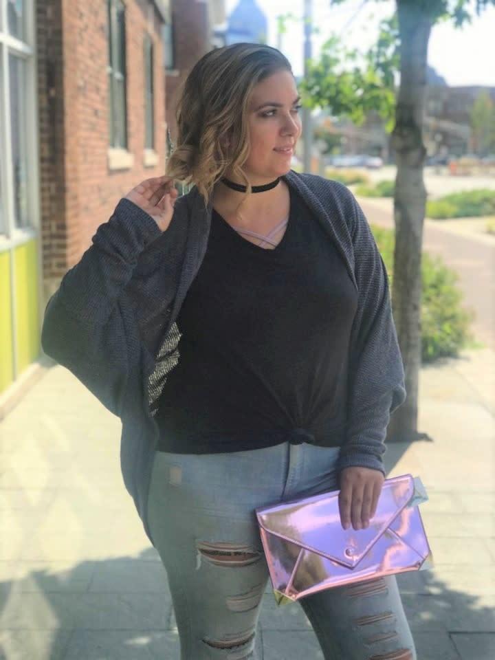 Knit Oversized Navy Shrug