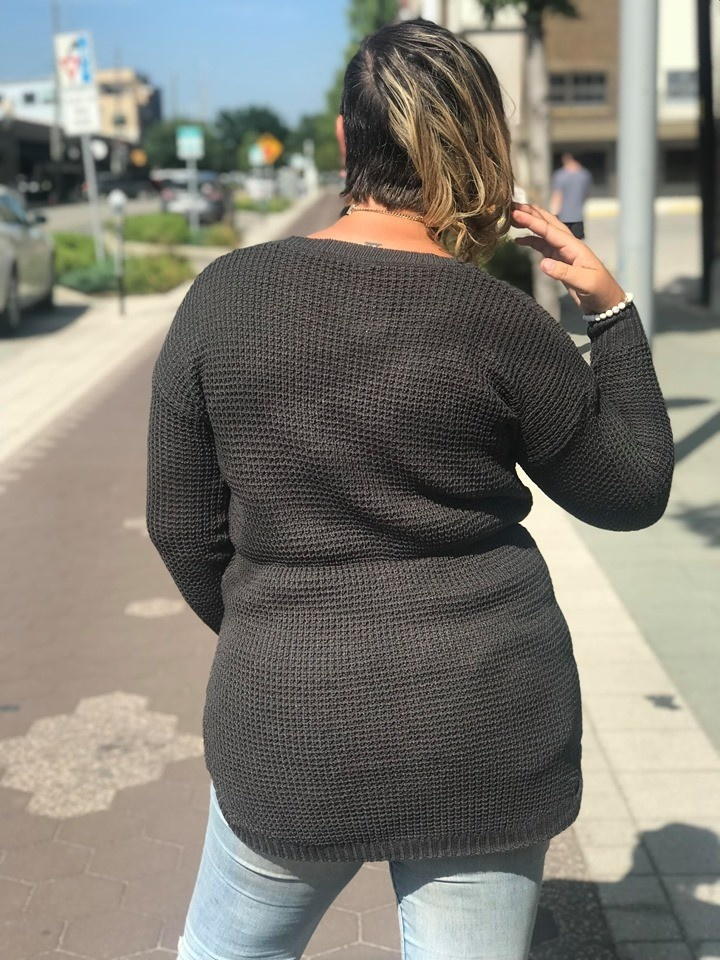 Ash Grey Waffle Sweater