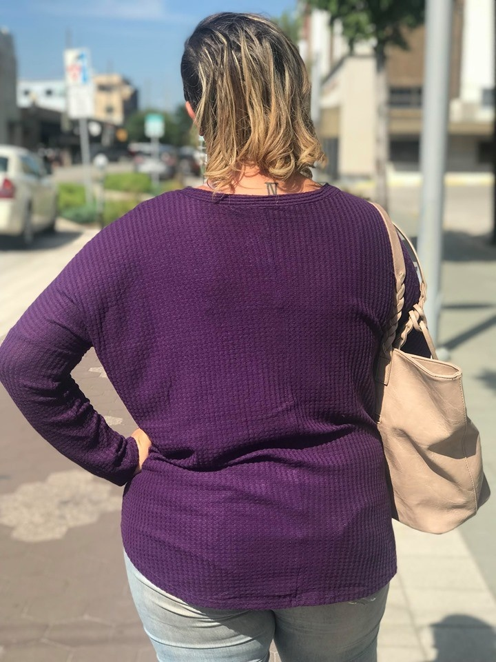 Waffle Long Sleeve Tied Top Purple