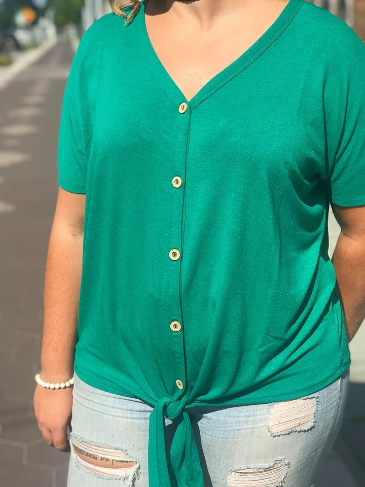 Green Button Down Tied Top