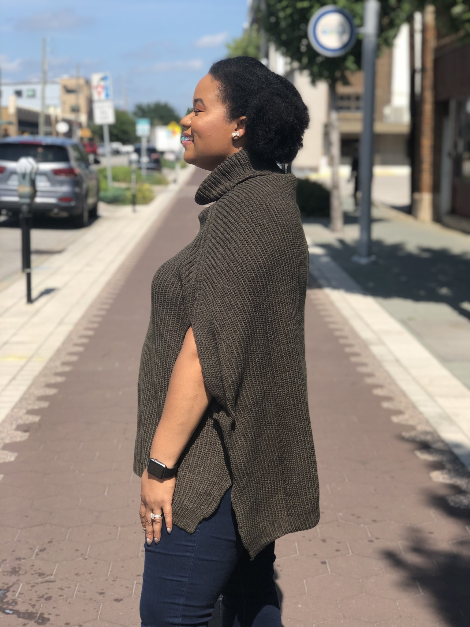 Olive Poncho Sweater