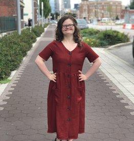 Rust Button Down Dress
