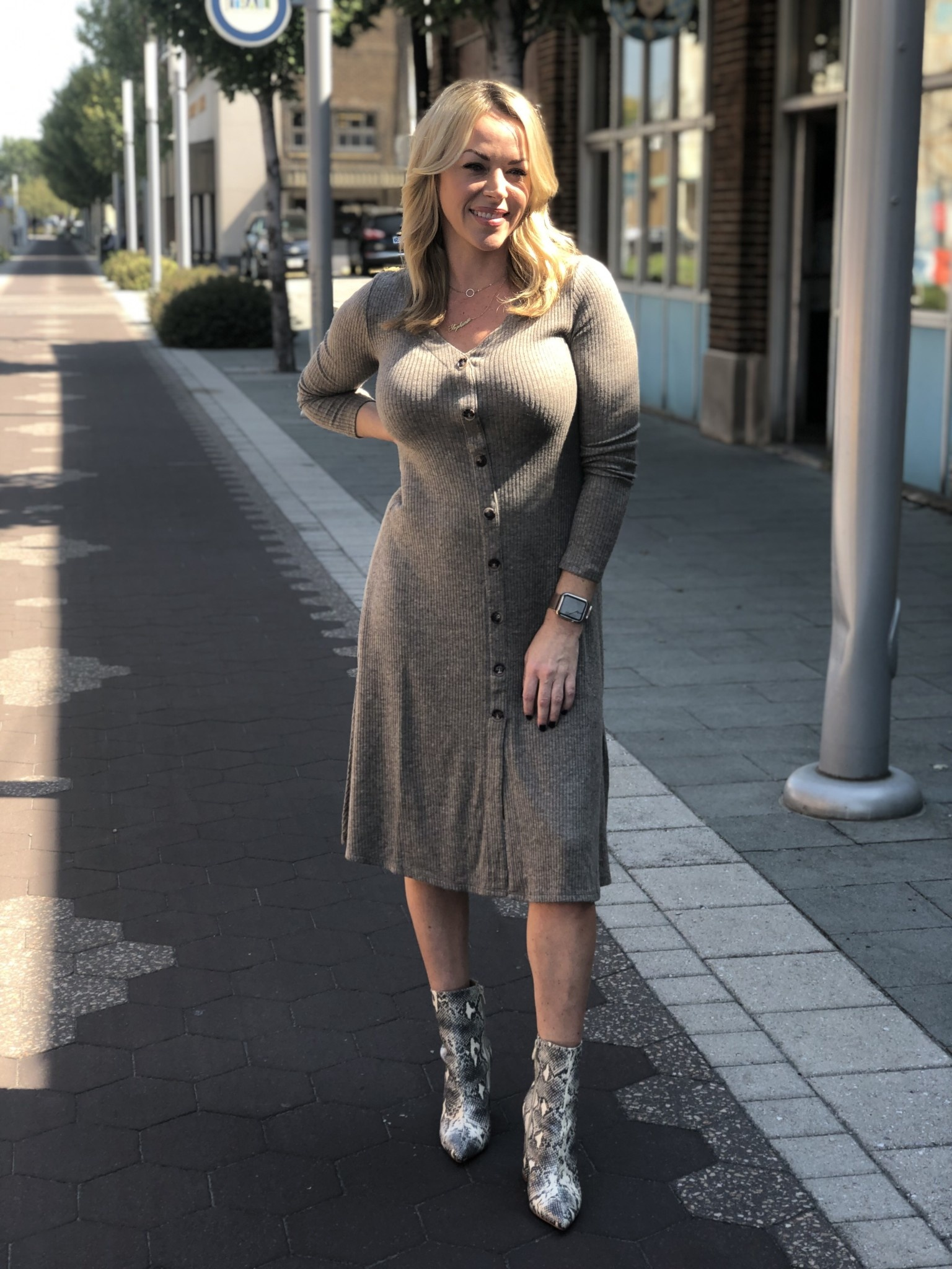 Long Ribbed Button Down Dress