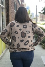 Loose Fit Ribbed Leopard Top