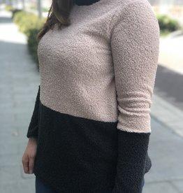 Color Block Popcorn Knit Sweater