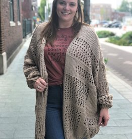 Oversized Taupe Knit Cardigan