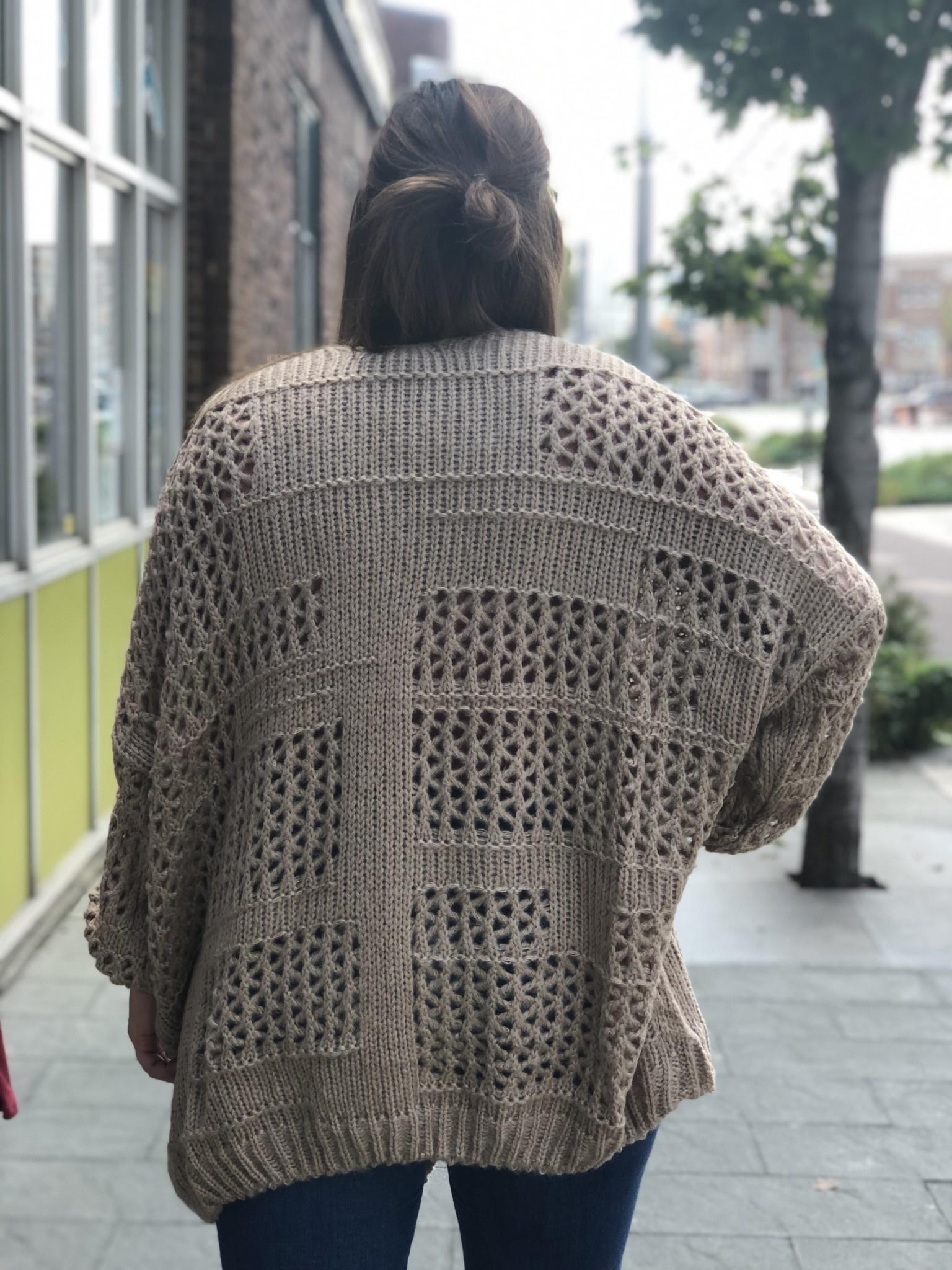 Oversized Taupe Knit Cardigan