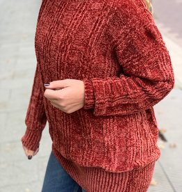 Rust Round Neck Chenille Sweater