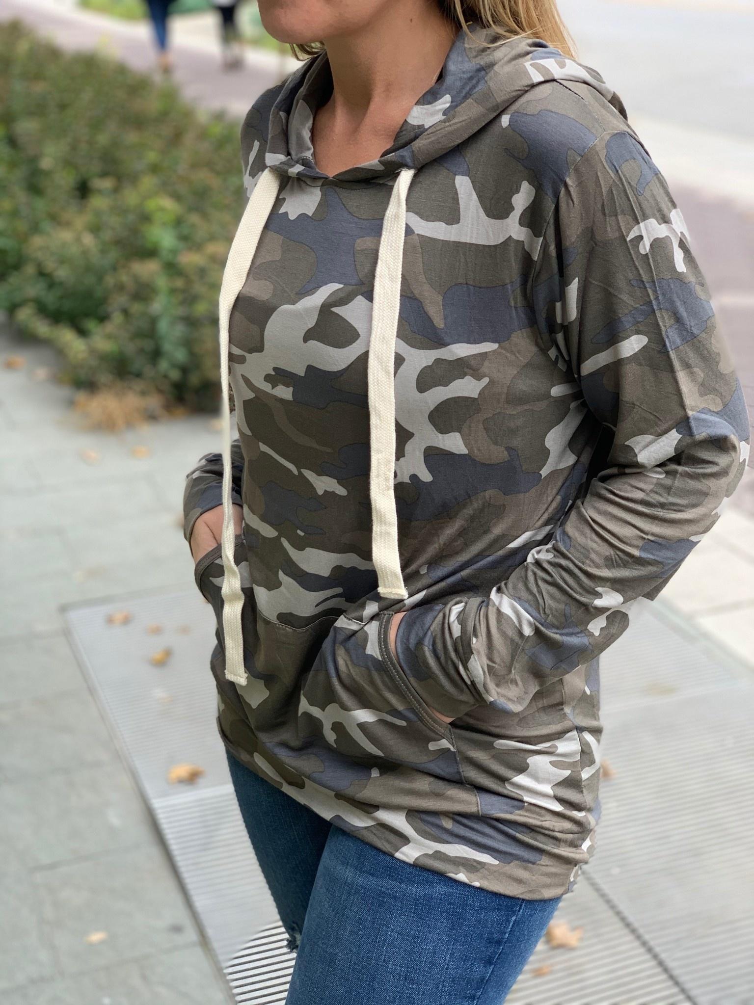 Lightweight Camo Hooded Pullover