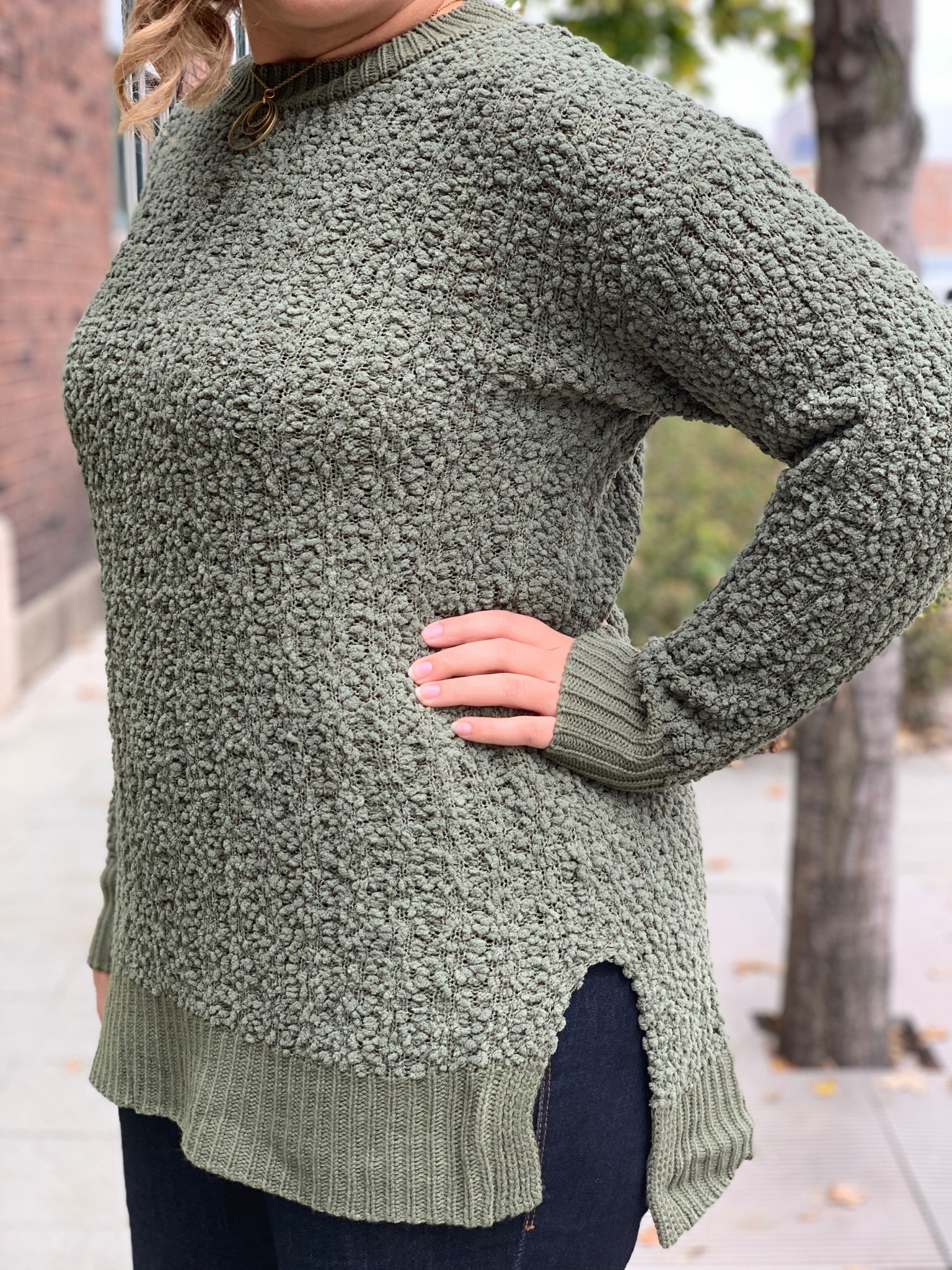 Olive Popcorn Sweater