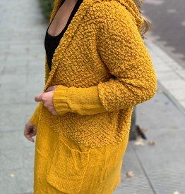 Mustard Fuzzy Knit Cardigan