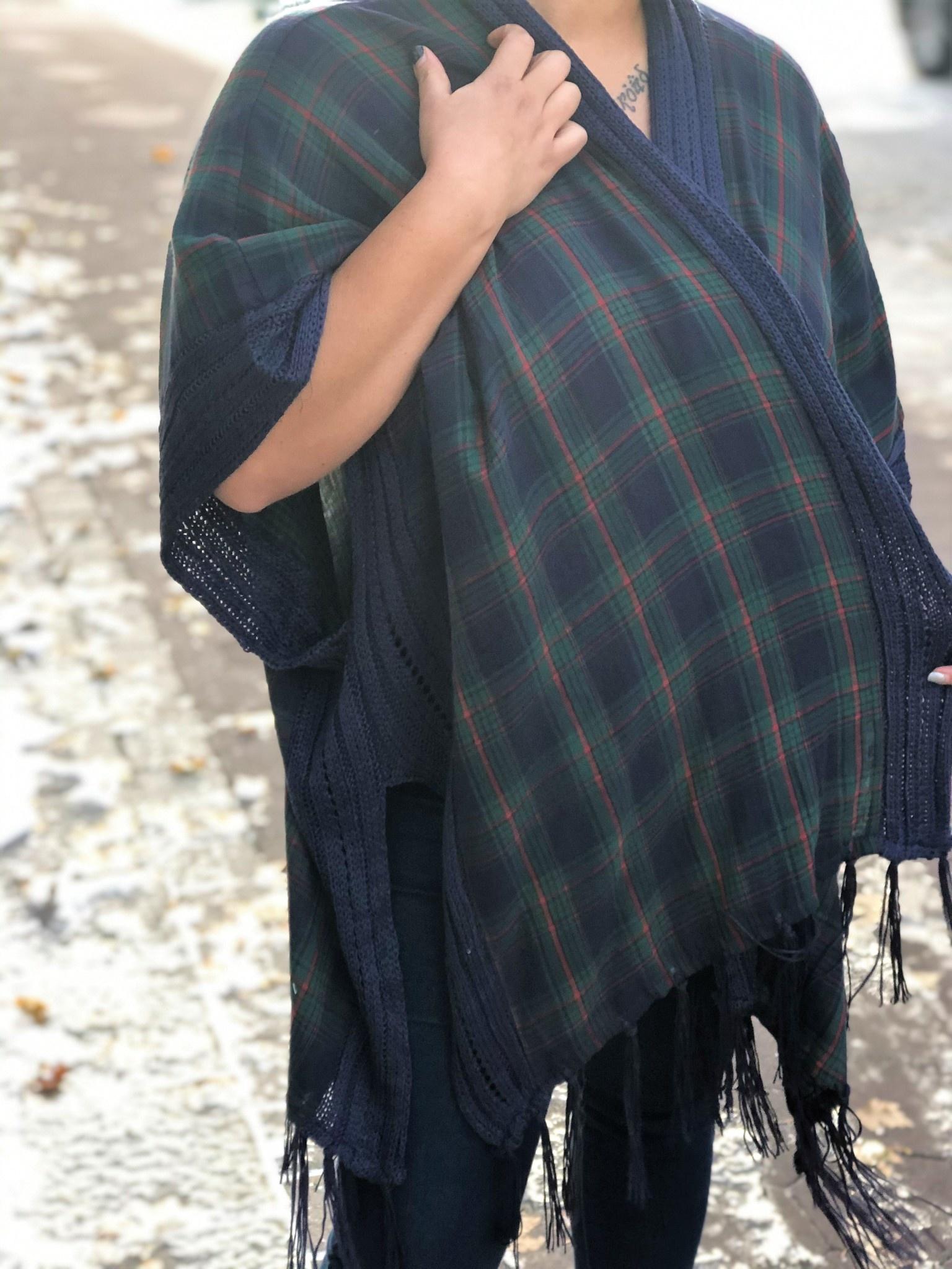 Plaid Fringe & Crochet Kimono