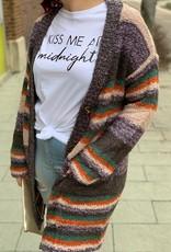 Fuzzy Knit Striped Cardigan