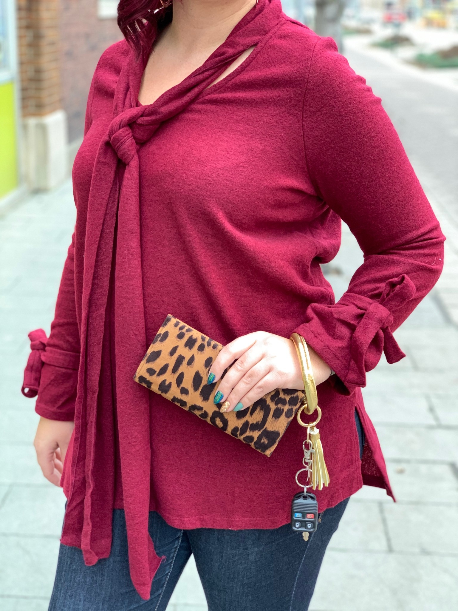 Burgundy Tie Detail Tunic