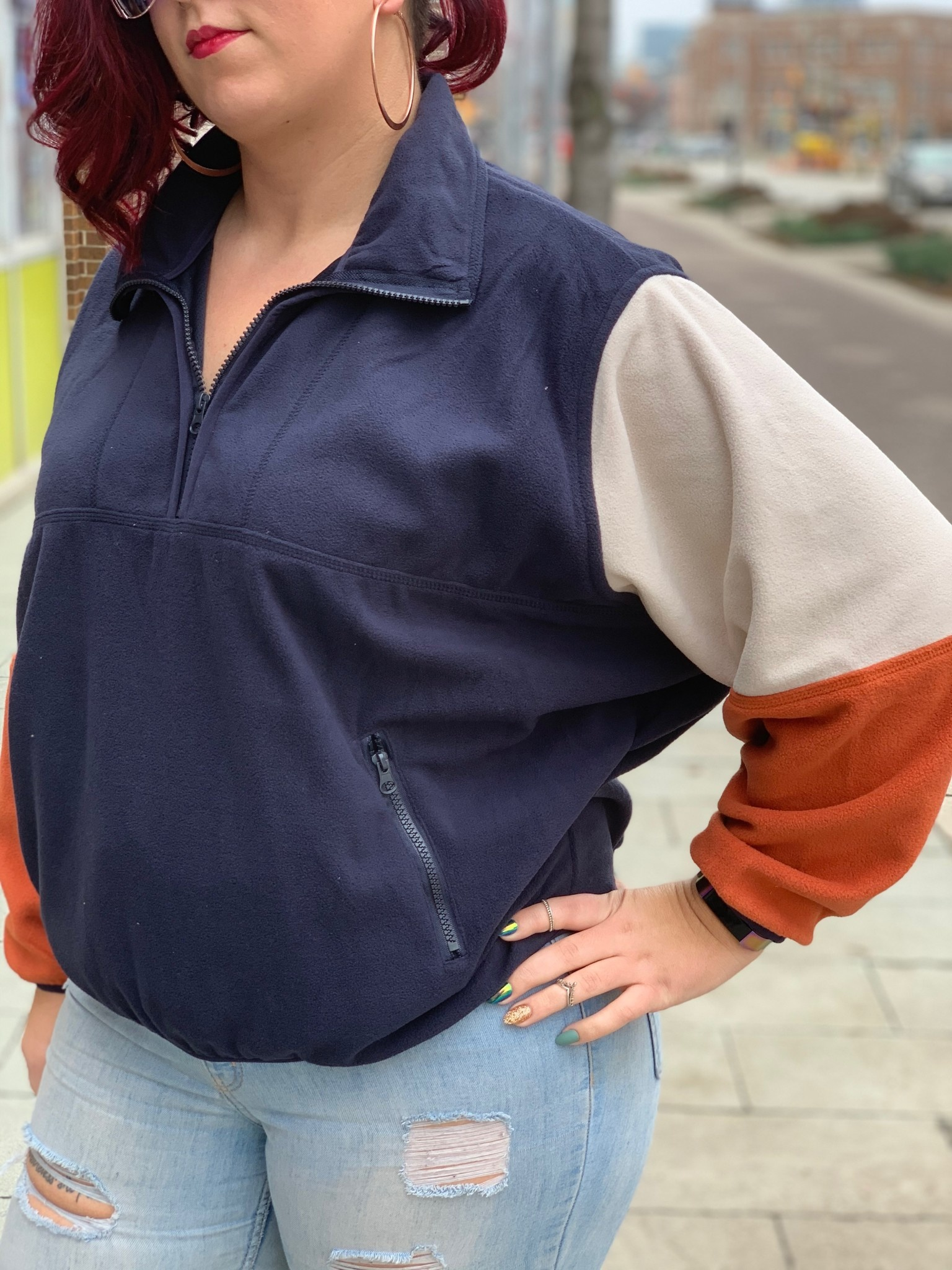 Colorblock Navy Pullover
