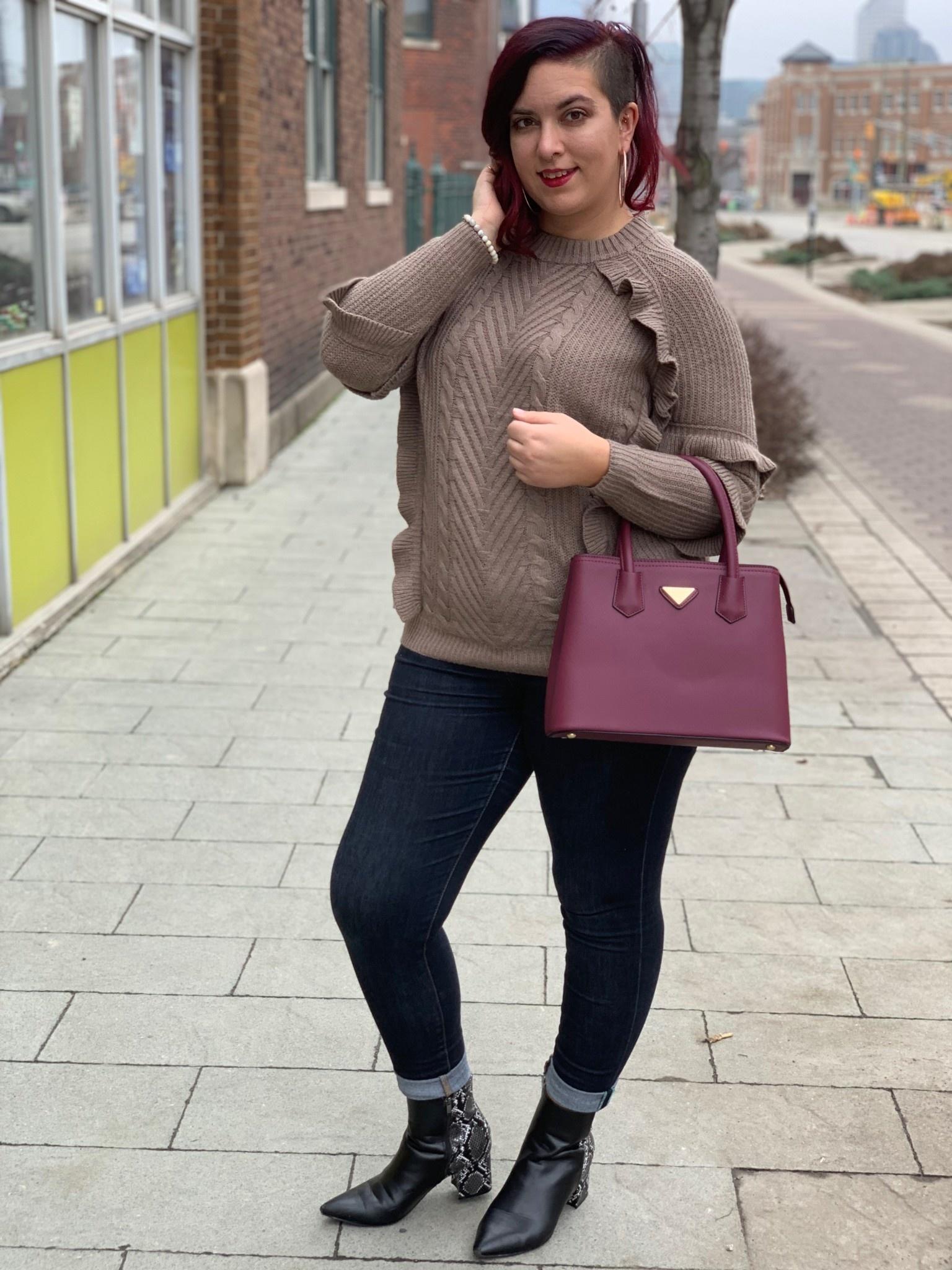 Latte Ruffle Knit Sweater