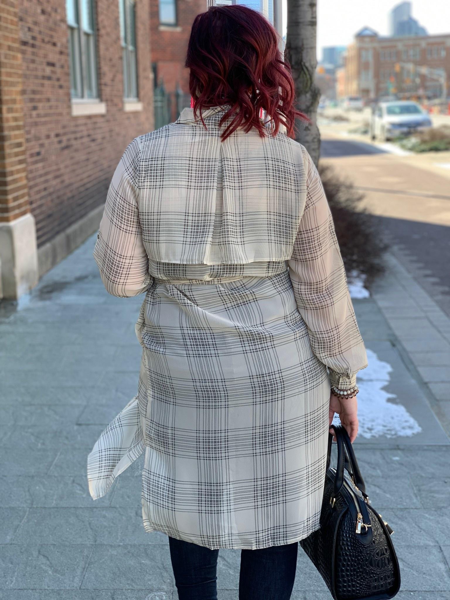Tan Plaid Kimono