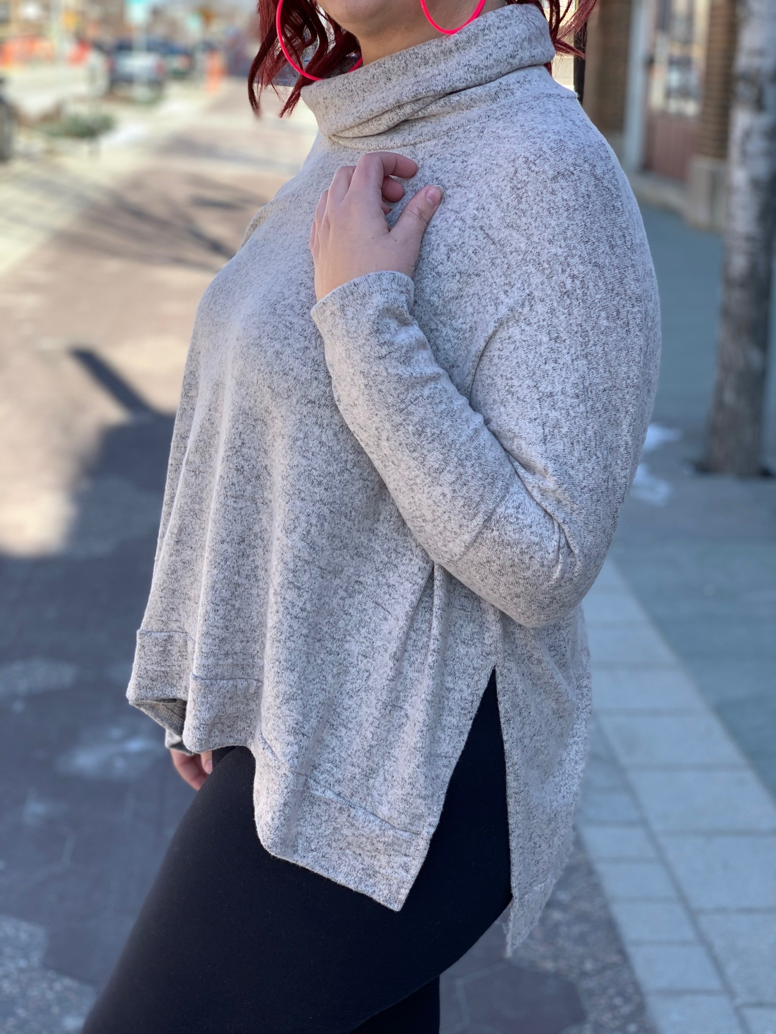 Loose Turtle Neck Brushed Top