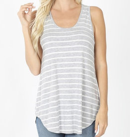 H Grey/Ivory Striped Tank