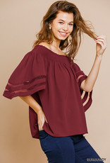 Burgundy Off The Shoulder Top