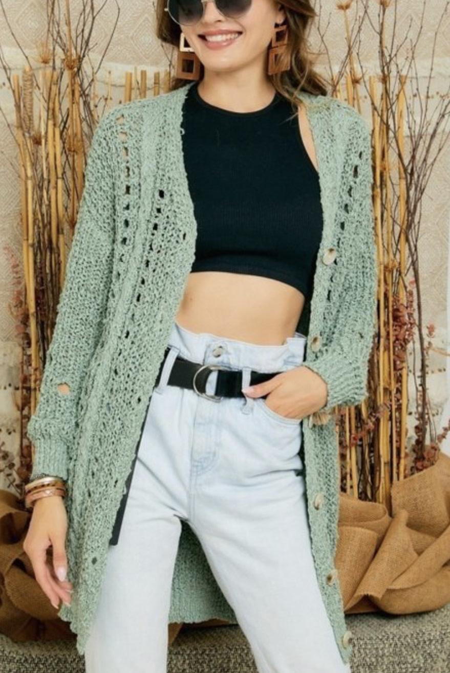 Taylor's Sage Loose Knit Cardigan