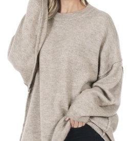 Neutral Exposed Hem Sweater