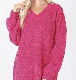Fuchsia Popcorn Sweater