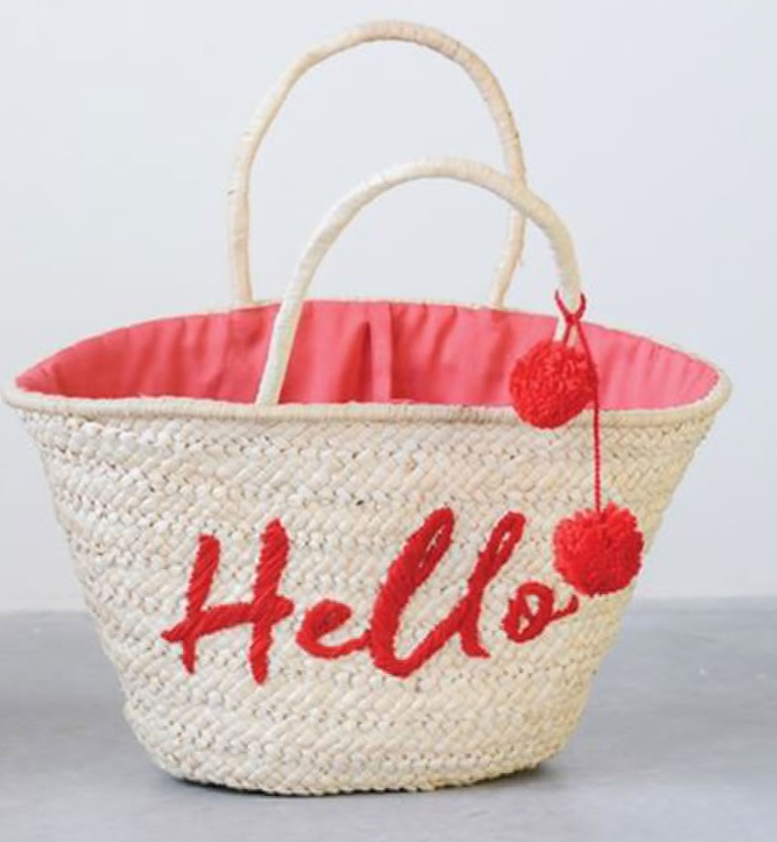 Red Straw Hello Tote