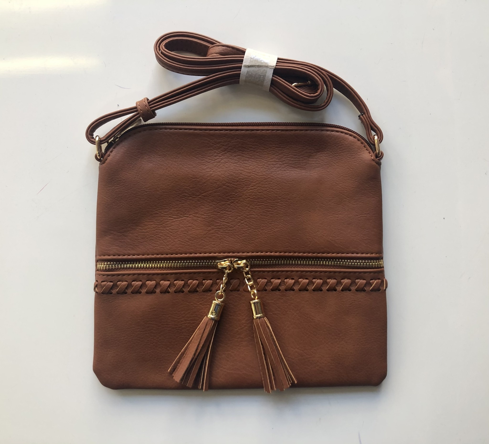 Brown Whipstitched Crossbody