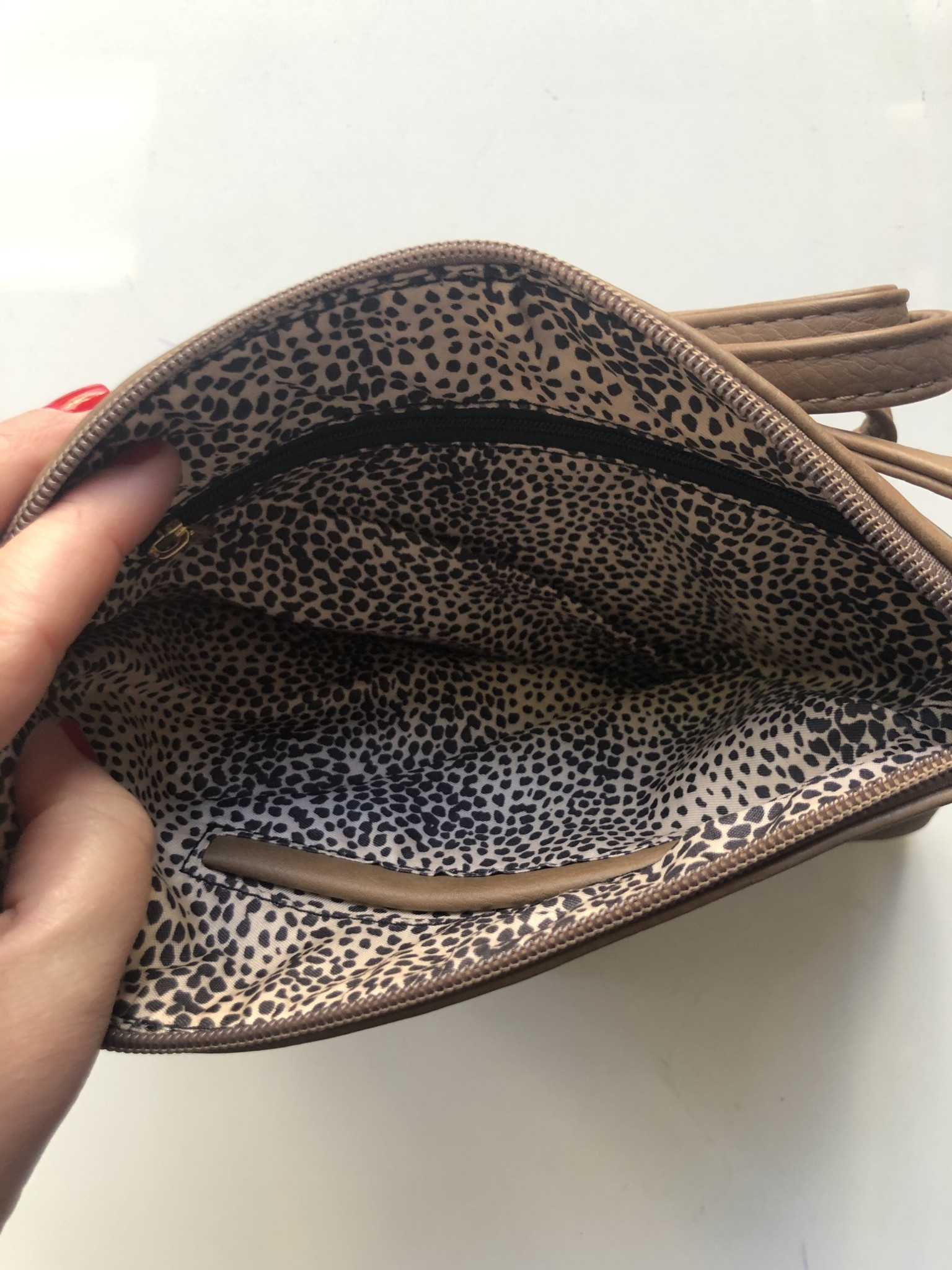 Taupe Whipstitched Crossbody