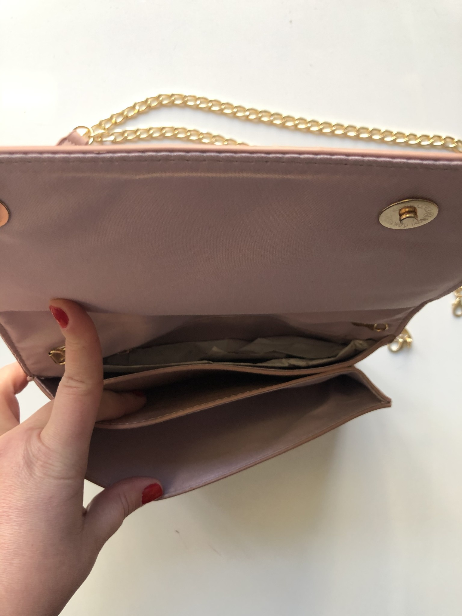 Blush Knotted Bow Clutch