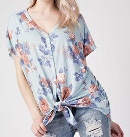 Floral Button Down Tie Front Top