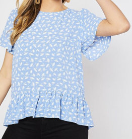 Blue Floral Ruffle Blouse