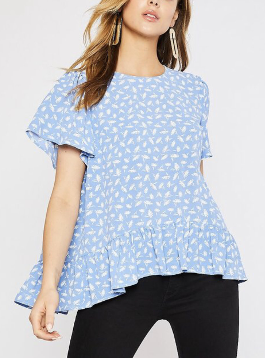 Blue Floral Ruffle Blouse