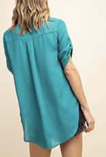 Teal Flap Pocketed Top
