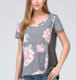 Charcoal Floral Tee