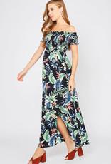 Navy Tropical Maxi Dress