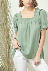 Dusty Green Detailed Sleeve Top