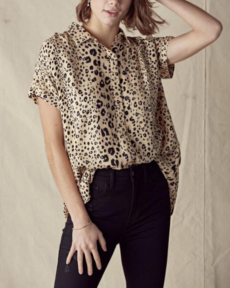 Leopard Snap Blouse
