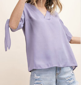 Lilac Tied Sleeve Blouse