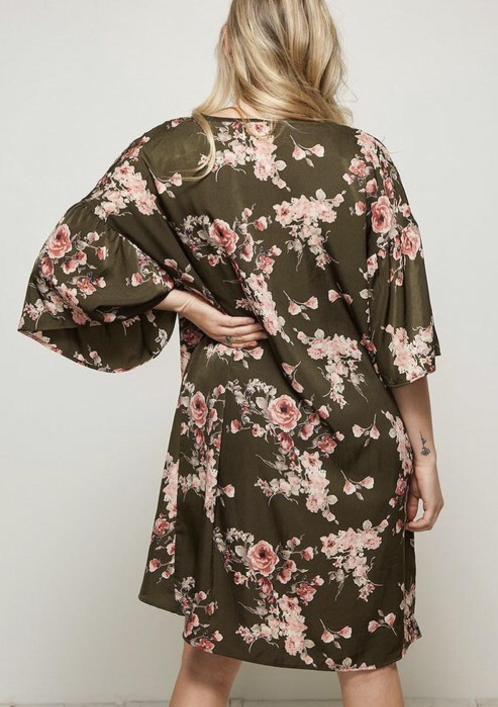 Olive Floral Cover-up