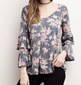 Floral Print Ruffled Top