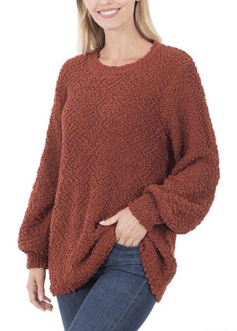 Rust Popcorn Pullover Sweater