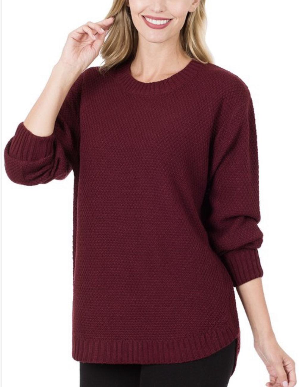 Burgundy Round Neck Sweater